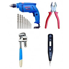 BOSCH 10MM GSB451 DRILL MACHINE & TAPARIA PLIER,DIGITAL LINE TESTER,PIPE WRENCH  Power Drills - prices of tools from flipkart, amazon, snapdeal, tolexo, industrybuying, moglix