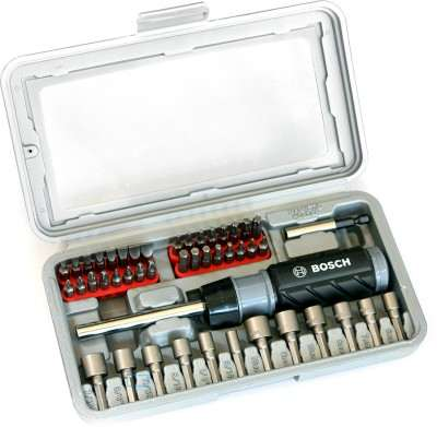 best price of bosch 46 piece ratchet screwdriver set black and silver in india tool dunia. Black Bedroom Furniture Sets. Home Design Ideas